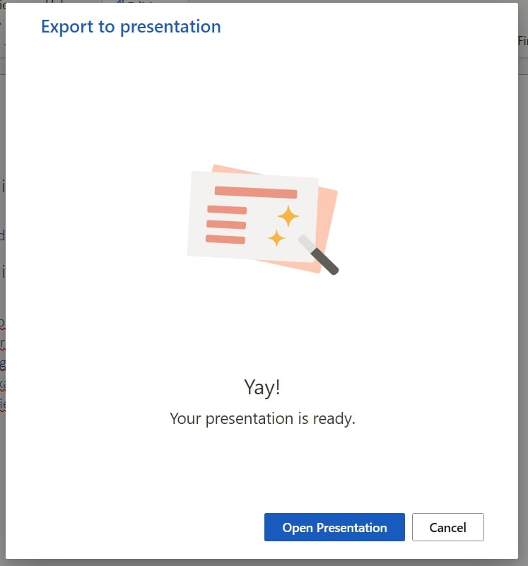 The Open Presentation button in MS word web app