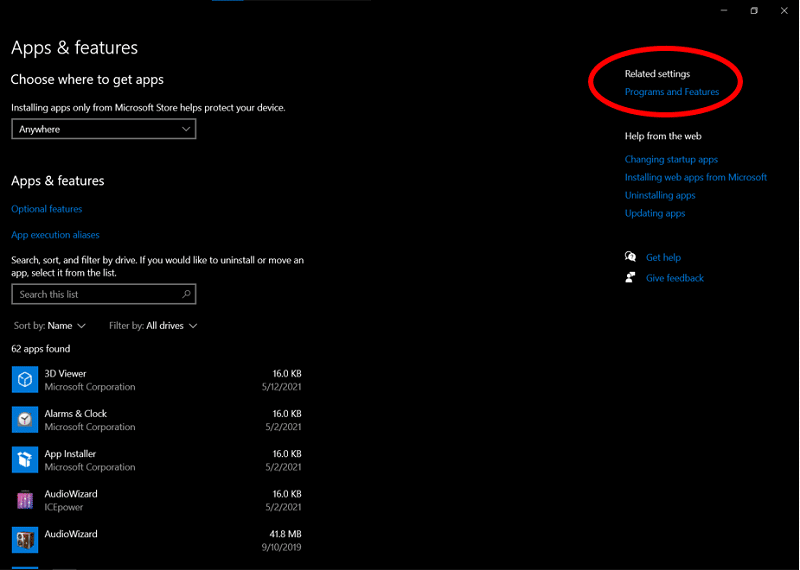 The Setting highlighting the option to access Windows 10 Programs and Features tab