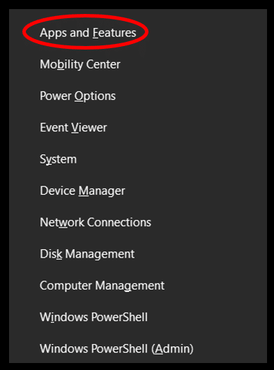 The Power User Task menu highlighting the Apps and features option in Windows 10