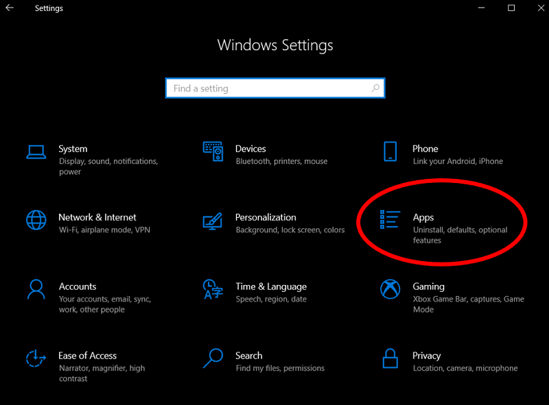The Settings tab on Windows 10 highlights the Apps option to access Programs and features