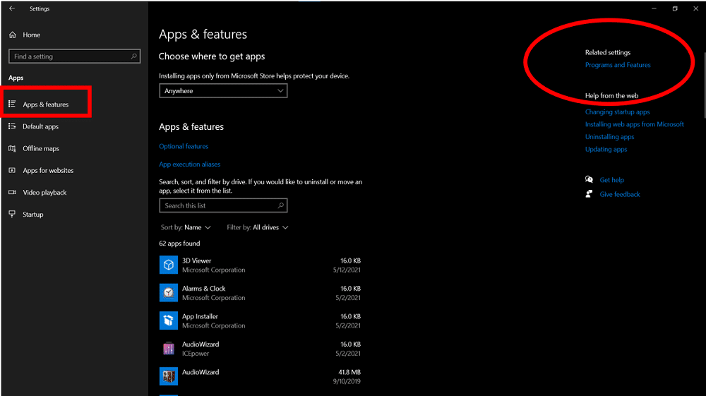 The Apps and Features option in Settings highlighting the steps to access the Programs and Features option