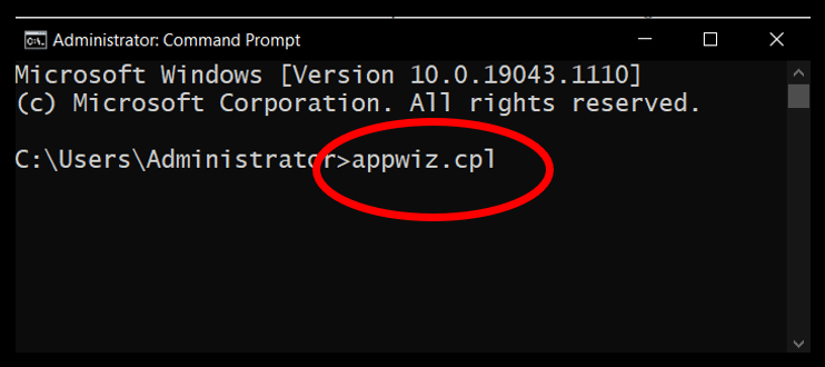 Command Prompt highlighting the command to open Programs and Features in Windows 10