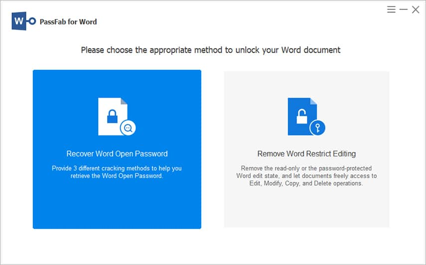 Recover Word Open Password in PassFab for Word