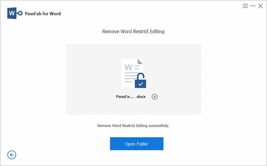 PassFab for Word - Open the word file without Restriction