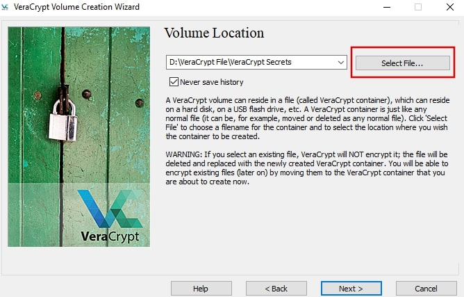 Choose an external hard drive for the virtual disk image on VeraCrypt