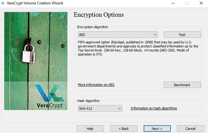 Select encryption options in VeraCrypt