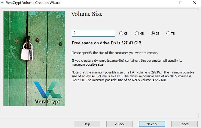 Volume size of the external hard drive in VeraCrypt