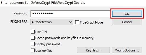 Enter password for the volume in VeraCrypt