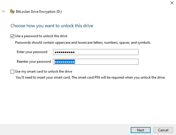 Use a password to unlock the drive in Windows
