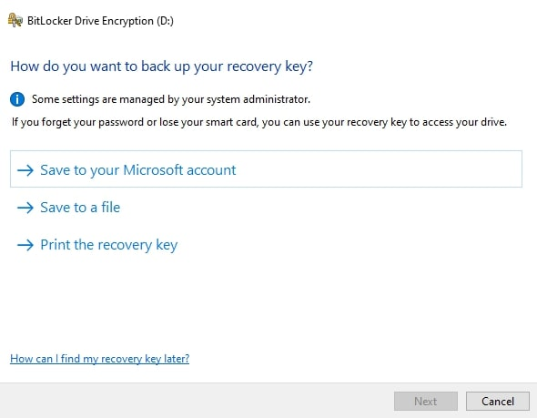 How to back up the recovery key for BitLocker