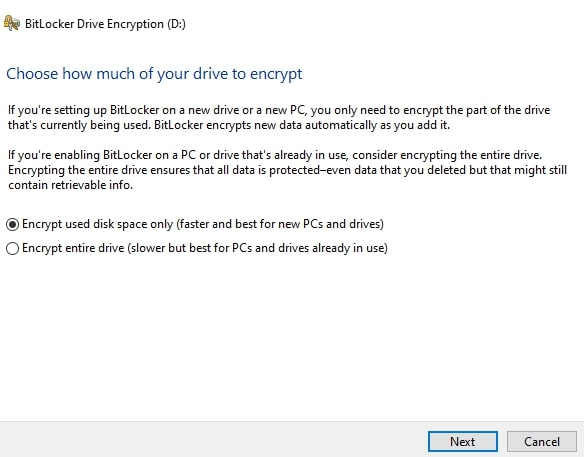 Choose how much of drive to encrypt in BitLocker