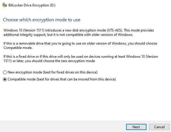Choose which encryption mode to use in BitLocker