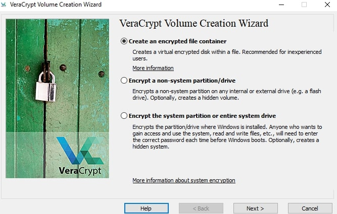 Create an encrypted file container in VeraCrypt
