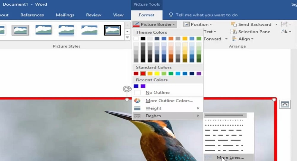The Picture Border tab in Word