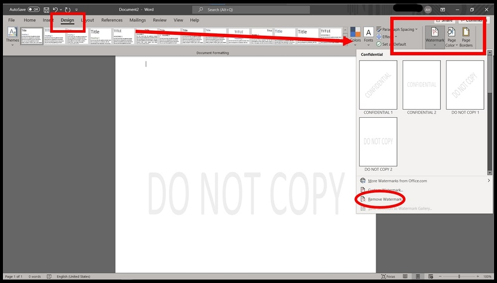 Word 2016 showing how to remove Watermark from Word document on Windows
