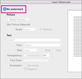 Word for Mac highlighting the option to remove Watermark on Word for Mac