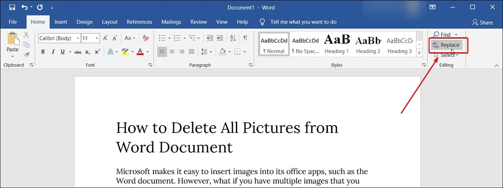 Replace option in Word