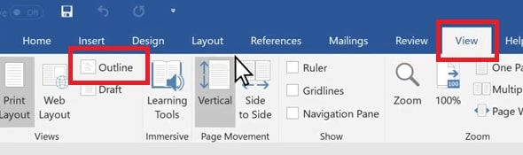 Select The Outline option in Word