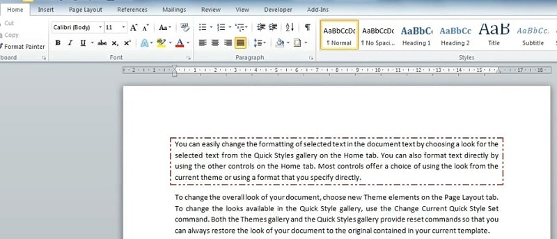 A text frame for selected text in Word