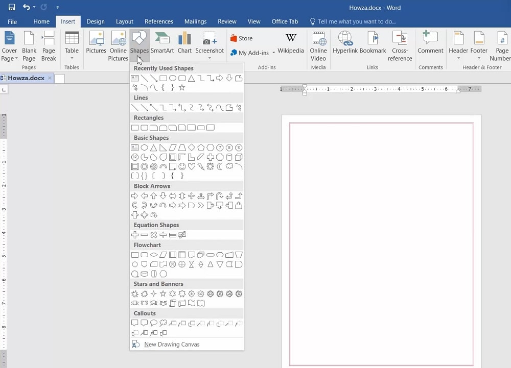 The Shapes button in Word