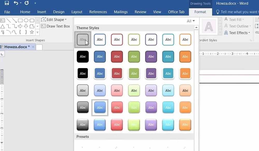 The Theme Styles menu in Word