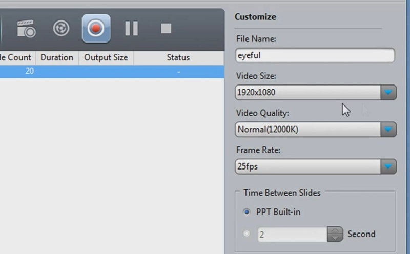 The Video Size and Video Quality drop-down menus in Imtoo