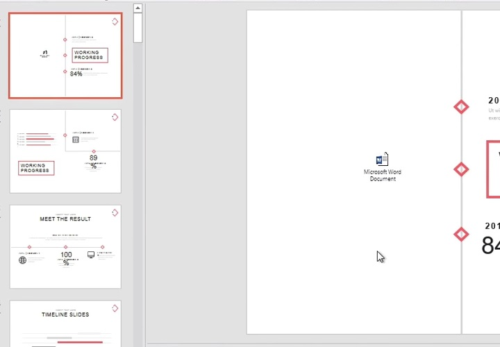A Microsoft Word document shortcut in PowerPoint