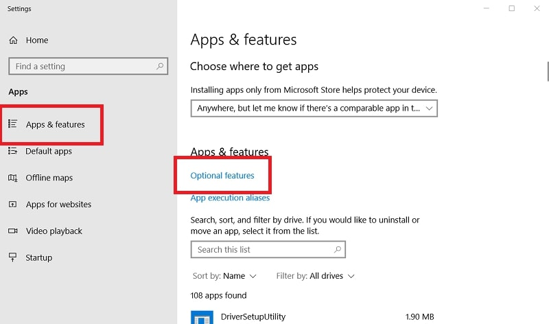 The Apps & features tab in Windows 10