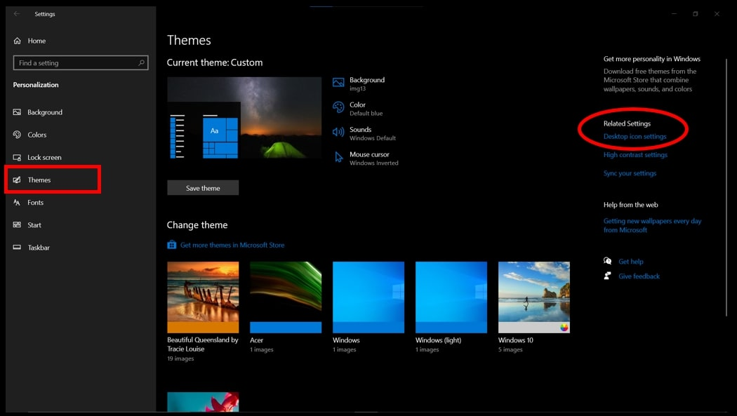 The Personalization options highlighting the options to change desktop icons on Windows 10