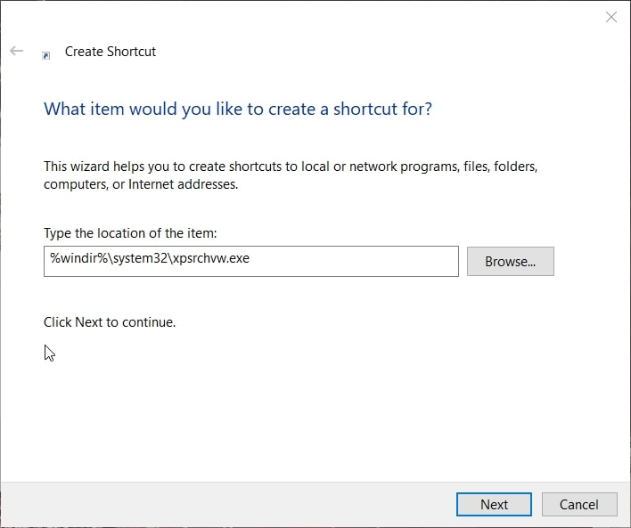 The Create Shortcut window for XPS viewer in Windows 10