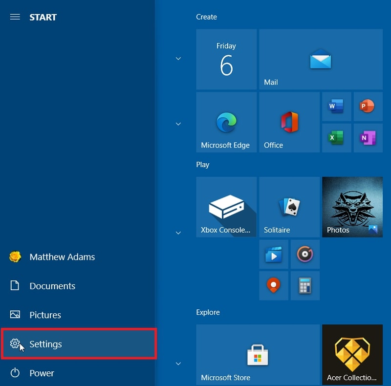 The Settings button in Windows 10