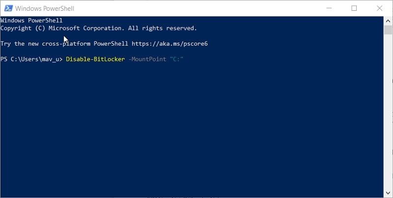 The disable BitLocker PowerShell command in Windows 10