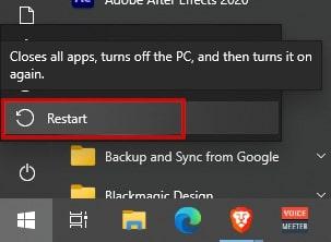 Restart to fix Google Chrome won't open in Windows 10