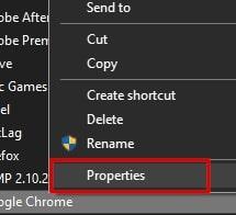 Google Chrome Properties in Windows 10