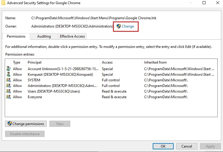 Change the Owner in Google Chrome