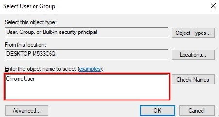 Enter the object name to select in Google Chrome