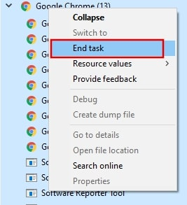 Close Google Chrome from Task manager