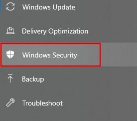 Select Windows Security in Windows 10 settings