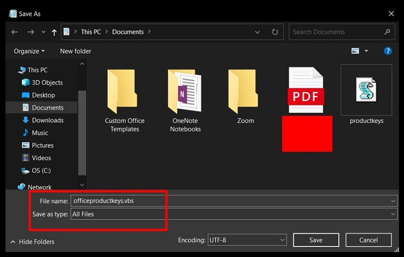 Save as pop-up of the Notepad highlighting the options to create VBScript of Office 2013/2016 product keys