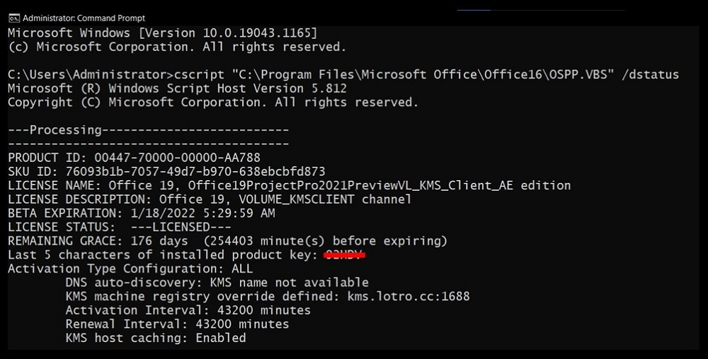 Command Prompt hiding the found Office 2016/2013 Product Key