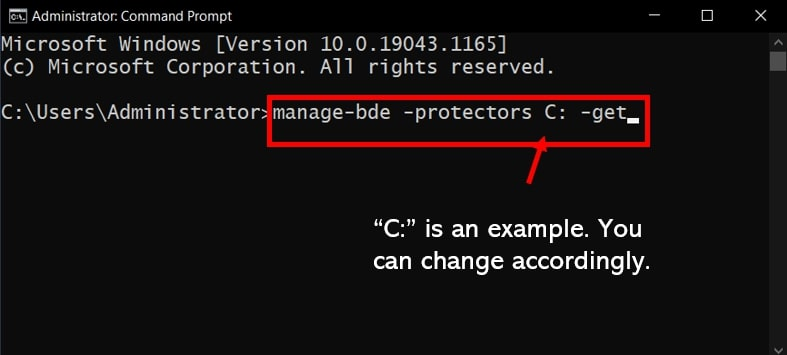 Command Prompt highlighting the command to get the BitLocker key from cmd