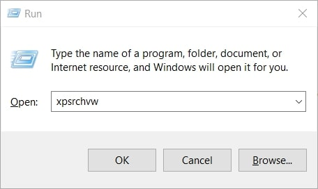 Open XPS Viewer in Windows 10 From Run