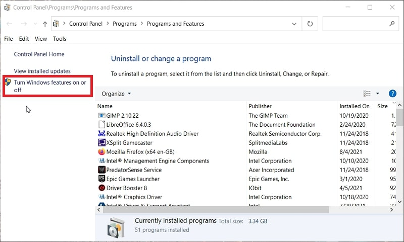 The Programs and Features Control Panel applet in Windows 10