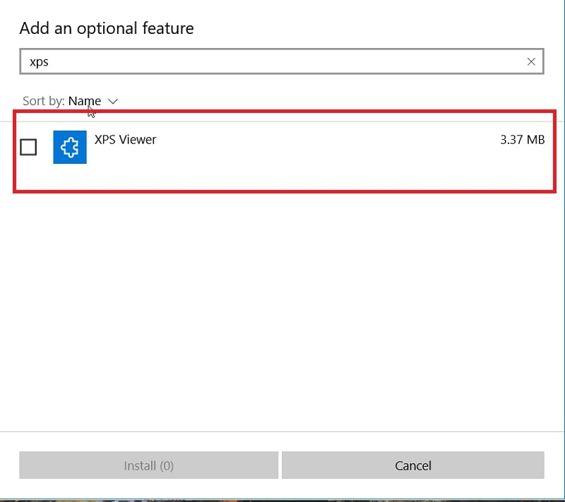 The XPS Viewer in Add an optional feature in Windows 10