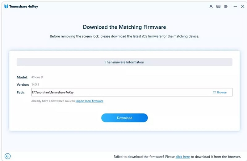 Download the matching firmware in Tenorshare 4uKey