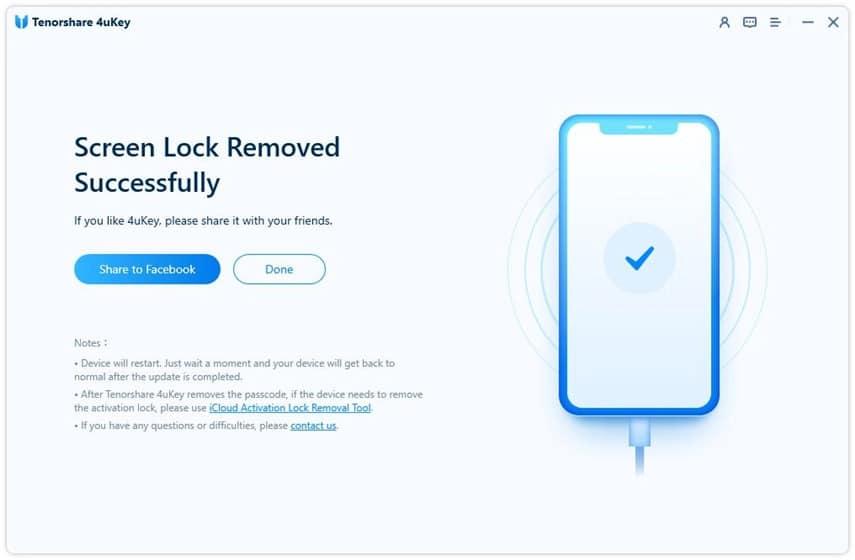 Tenorshare 4uKey - remove passcode successfully