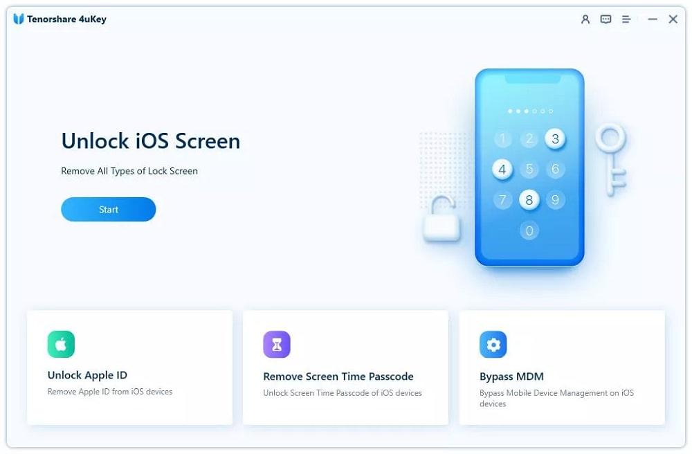Start to Unlock iOS Screen in Tenorshare 4uKey