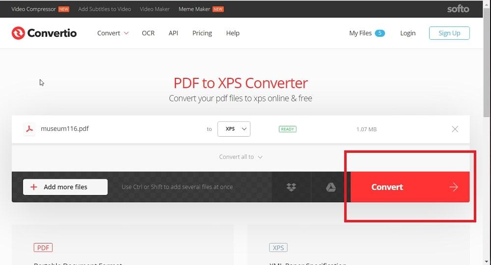 The Convert button in Convertio PDF to XPS web app