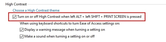 Turn on or off High Contrast when ALT SHIFT PRINT SCREEN is pressed