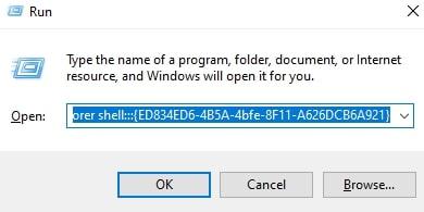 Open Personalization in Windows 10 via Run
